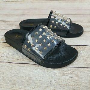 NEW Jennifer Lopez Studded Slide Sandals 7.5 Black